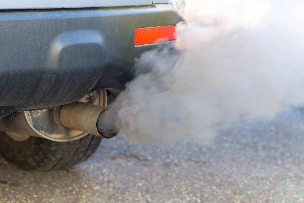 exhaust fumes from car