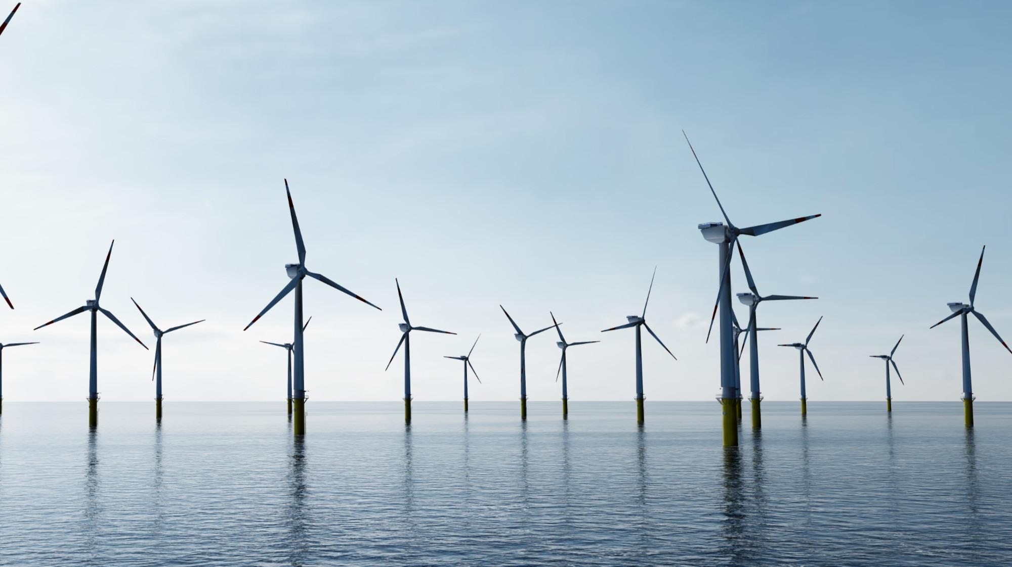 offshore wind turbines on ocean