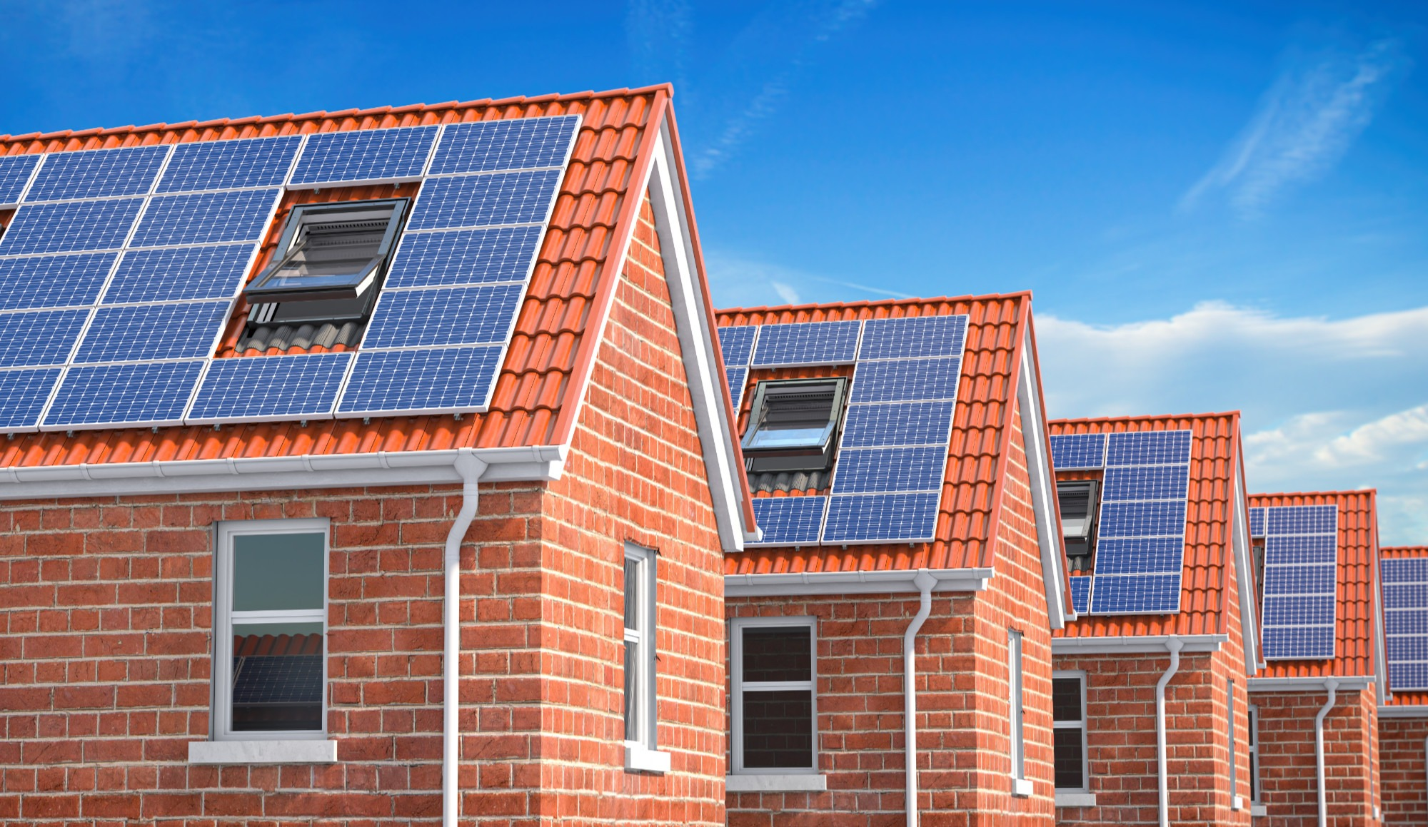 solar panels on rows of roofs